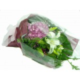 ALL007 : 歡天喜悅-  白百合花,粉秀球花束