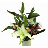 ALL011 - 白百合,粉康乃馨花連花瓶