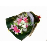 ALL013 : 形影不離 - 粉百合,白玫瑰花束