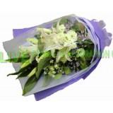 ALL018 : 我温柔的爱 - 白百合配迷人紫色包裝花束 *(本月優惠)
