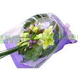ALL019 : 親爱的 - 黃天霸百合配迷人紫色包裝花束