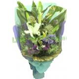 ALL020 : 清爽的 - 白百合, 洋桔梗配合紫加粉藍色包裝花束