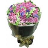 ARS020d : (情人節精選 08/02 - 16/02) 只想你 - 紫玫瑰24支加襯花花束