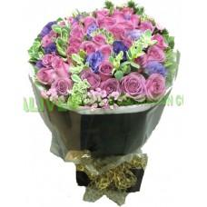 ARS020c : (情人節精選 08/02 - 16/02) 只想你 - 紫玫瑰12支裝連配花花束