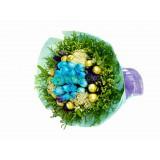 ARS025 - 藍玫瑰+金莎朱古力花束