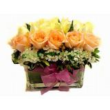 ARS038 - 白玫瑰,香檳玫瑰連花瓶