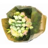 ATL005 :  祝福 - 白色鬱金香,白玫瑰花束