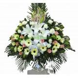 AFF006 - 百合, 太陽花,玫瑰高架悼念花籃
