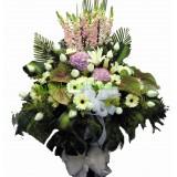 AFF007 - 繡球,掌,玫瑰高架悼念花籃