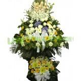 AFF008 - 誠摯的慰問- 繡球,舍香, 太陽花,玫瑰, 百合,双層花籃高架7呎高