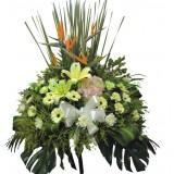 AFF012 -真誠- ,天鳥,百合,玫瑰高架悼念花籃