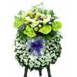 AFF013 - 親愛的- 掌, 百合,玫瑰, 洋菊花西式殯儀高架花圈