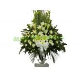 AFF014 - 葬禮花- 百合, 太陽花及小菊高架悼念花籃