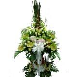 AFF015 - 我們珍惜的- 綠掌, 繡球,舍香, 太陽花,玫瑰, 百合,双層花籃高架7呎高