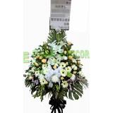 AFF030- 最親切的問候 - 6呎高架悼念鮮花籃,  百合, 玫瑰,太陽花及配花绿葉